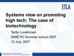 Systems view on promoting high tech: The case of …