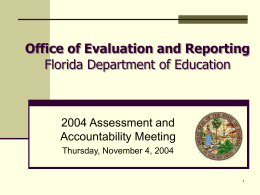 Florida Department of Education Evaluation & Reporting