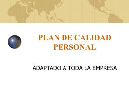 PLAN DE CALIDAD PERSONAL