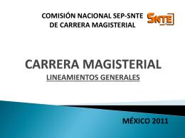 CARRERA MAGISTERIAL LINEAMIENTOS GENERALES