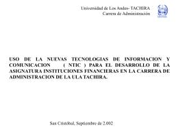 UNIVERSIDAD DE LOS ANDES. TACHIRA Carrera de …