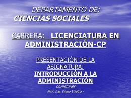 DEPARTAMENTO DE: CIENCIAS SOCIALES CARRERA: …
