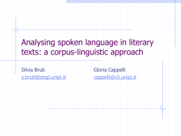 Analysing spoken language in literary texts: a corpus