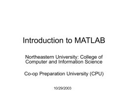 Introduction to MATLAB - Northeastern University