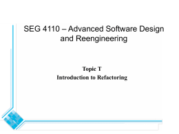 SEG 4210 – Advanced Software Design and Reengineering