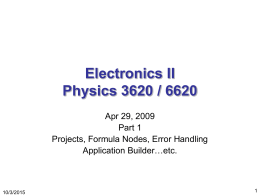 Electronics II Physics 3620 / 6620