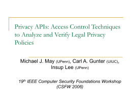 Formal Models for Legislative Privacy Policies