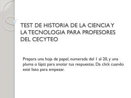 TEST DE HISTORIA DE LA CIENCIA Y LA TECNOLOGIA …
