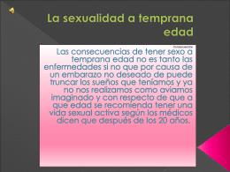 La sexualidad a temprana edad