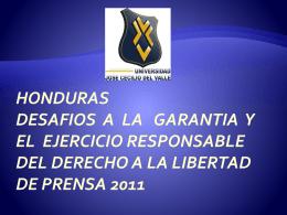 HONDURAS DESAFIOS A LA GARANTIA Y EL EJERCICIO …
