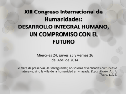 XIII Congreso Internacional de Humanidades: …