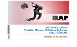 ENCUESTA ONLINE Portales, Medios y Boletines de Prensa