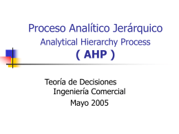 Proceso Analitico Jerarquico ( AHP )
