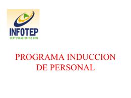 PROGRAMA INDUCCION DE PERSONAL
