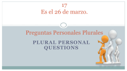 Plural Personal Questions
