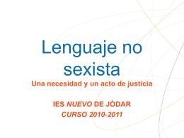 LENGUAJE NO SEXISTA