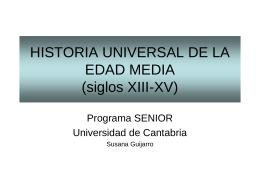 HISTORIA UNIVERSAL DE LA EDAD MEDIA (siglos XIII-XV)