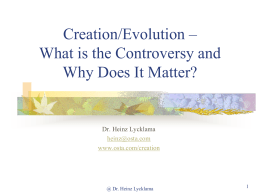 Intorduction to the Creation/Evolution Controversy