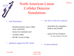 Simulations Tools Status