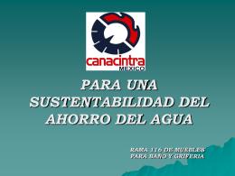 CANACINTRA TRABAJA PARA EL AHORRO DEL AGUA