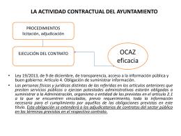 LA ACTIVIDAD CONTRACTUAL DEL AYUNTAMIENTO
