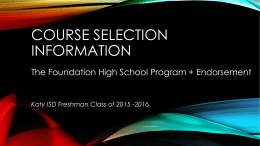 9th Grade Course Selection - Katy Independent School …