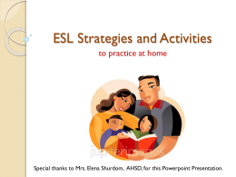 ESL Strategies and Activities