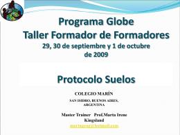 Programa Globe Taller Formador de Formadores 21 al 23 …