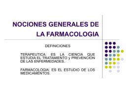NOCIONES GENERALES DE LA FARMACOLOGIA