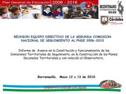 Diapositiva 1 - Inicio - Plan Nacional Decenal de