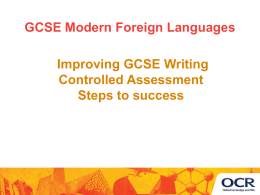 OCR GCSE Modern Foreign Languages 'Improving GCSE …