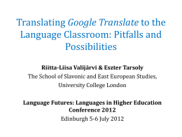 Translating Google Translate to the Language Classroom