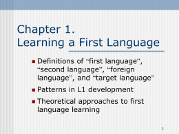 Learning First Language