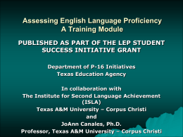ESL Certification Summer Institute Assessing English