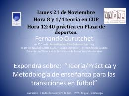 Fernando Curuchet DT de las formativas del Club Defensor