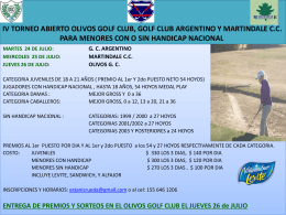 2do TORNEO ABIERTO OLIVOS GOLF CLUB, GOLF CLUB …
