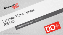 ThinkServer RS140 Customer Presentation