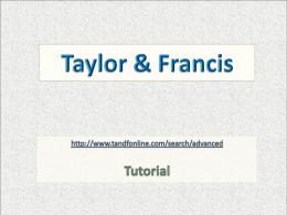 Taylor & Francis - Biblioteca CIDE