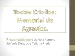 Textos Criollos: Memorial de Agravios.