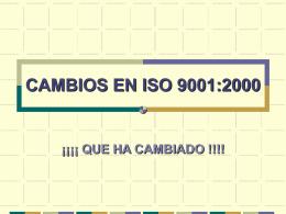 CAMBIOS EN ISO 9001:2000