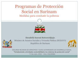 Social Protection Programs in Suriname Measures to …