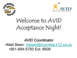 Welcome to AVID Acceptance Night!