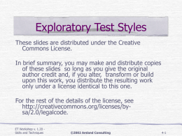 Styles of Exploration Outline