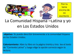 La Comunidad Hispana –Latina y yo en Los Estados Unidos