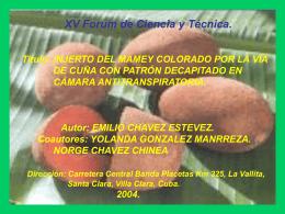 TITULO: INJERTO DEL MAMEY COLORADO POR LA VIA DE …