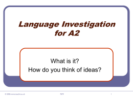 Language Investigation for A2