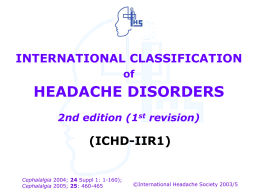 International Classification of Headache Disorders