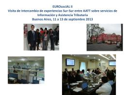 EUROsociAL II Visita de Intercambio de experiencias Sur