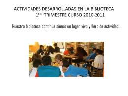 ACTIVIDADES DESARROLLADAS EN LA BIBLIOTECA 1ER …