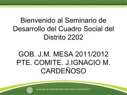 Bienvenido al Seminario de Desarrollo del Cuadro Social